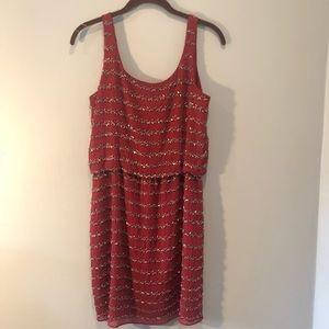 Romeo & Juliet Couture Chiffon Beaded Dress - Wine
